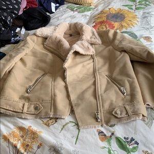 NWOT H&M tan colored suede Moto jacket